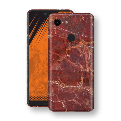 Google Pixel 3 XL Print Custom Signature Marble RED Skin Wrap Decal by EasySkinz - Design 2
