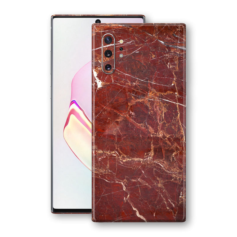 Samsung Galaxy NOTE 10+ PLUS Print Custom Signature Marble RED Skin Wrap Decal by EasySkinz - Design 2