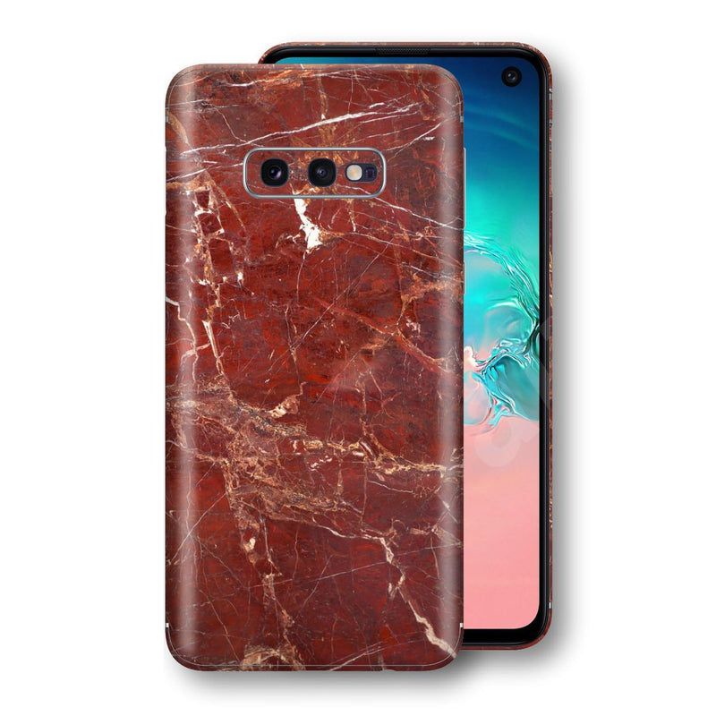 Samsung Galaxy S10e Print Custom Signature Marble RED Skin Wrap Decal by EasySkinz - Design 2