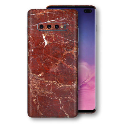Samsung Galaxy S10+ PLUS Print Custom Signature Marble RED Skin Wrap Decal by EasySkinz - Design 2