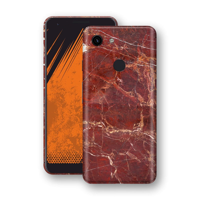 Google Pixel 3a XL Print Custom Signature Marble RED Skin Wrap Decal by EasySkinz - Design 2