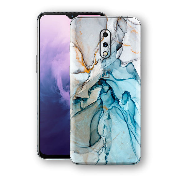 OnePlus 7 Print Custom Signature Marble TURQUOISE Skin Wrap Decal by EasySkinz - Design 2