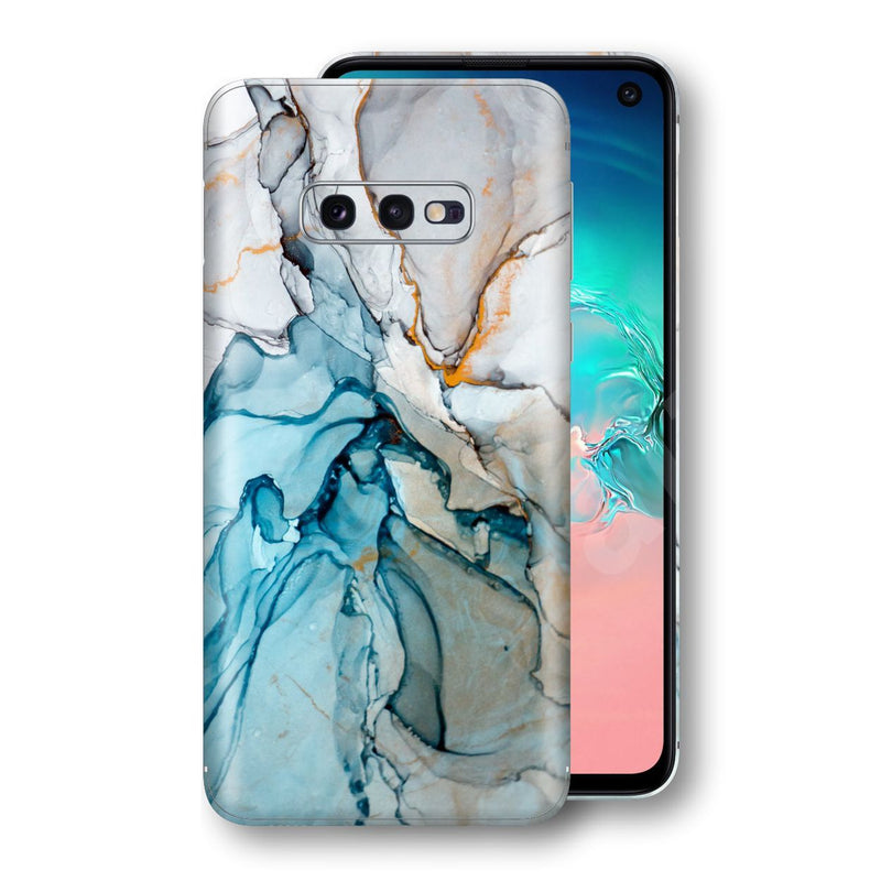 Samsung Galaxy S10e Print Custom Signature Marble TURQUOISE Skin Wrap Decal by EasySkinz - Design 2