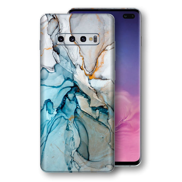 Samsung Galaxy S10+ PLUS Print Custom Signature Marble TURQUOISE Skin Wrap Decal by EasySkinz - Design 2