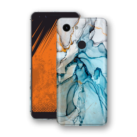 Google Pixel 3 Print Custom Signature Marble TURQUOISE Skin Wrap Decal by EasySkinz - Design 2