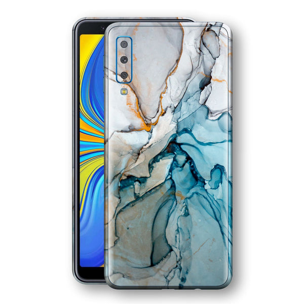 Samsung Galaxy A7 (2018) Print Custom Signature Marble TURQUOISE Skin Wrap Decal by EasySkinz - Design 2