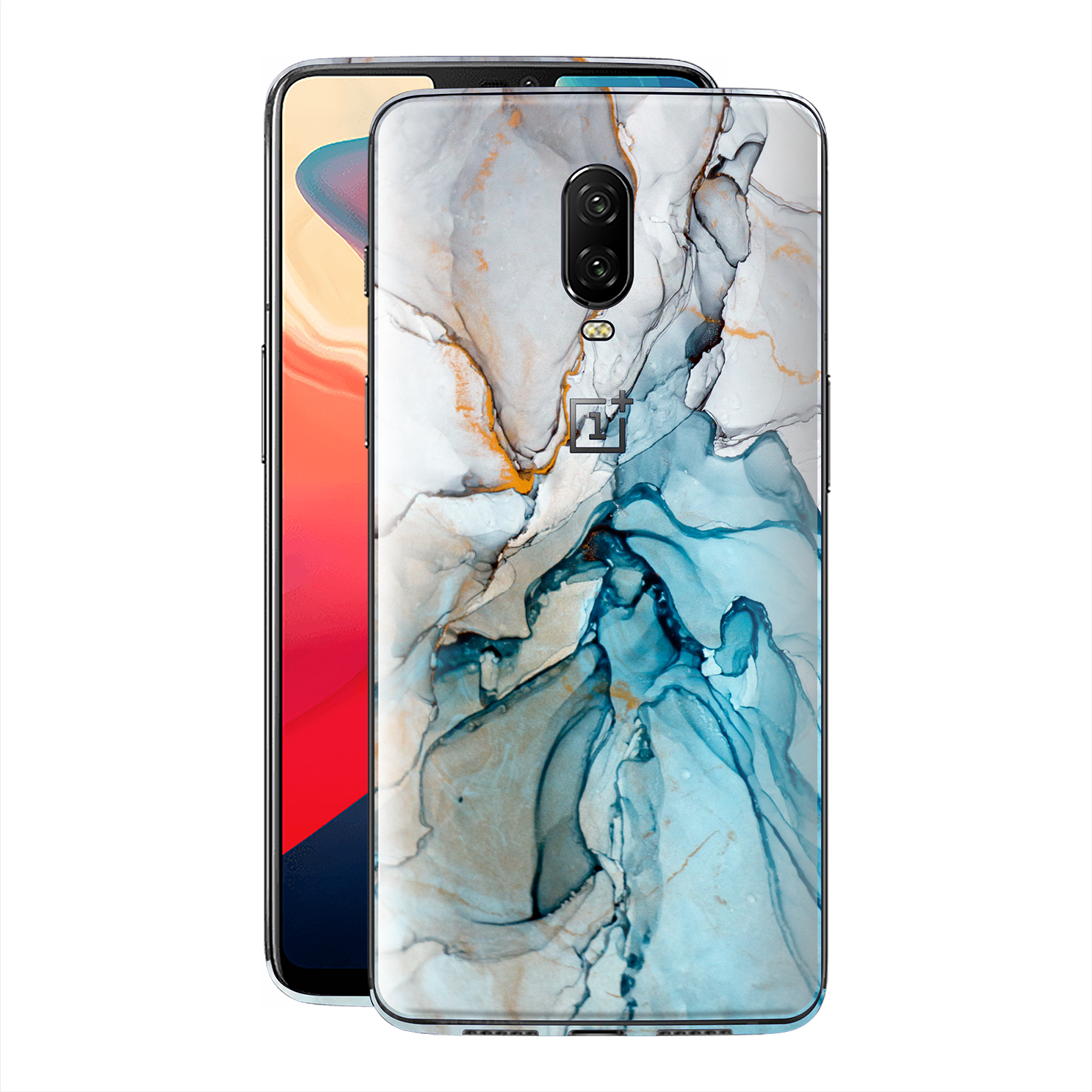 OnePlus 6T Print Custom Signature Marble TURQUOISE Skin Wrap Decal by EasySkinz - Design 2