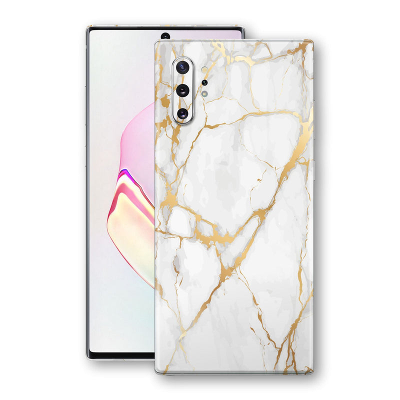 Samsung Galaxy NOTE 10+ PLUS Print Custom Signature Marble White Gold Skin Wrap Decal by EasySkinz - Design 2