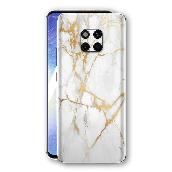Huawei MATE 20 PRO Print Custom Signature Marble White Gold Skin Wrap Decal by EasySkinz - Design 2