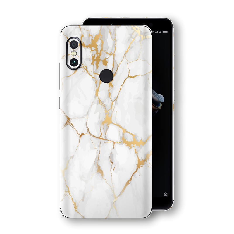 XIAOMI Redmi NOTE 5 Print Custom Signature Marble White Gold Skin Wrap Decal by EasySkinz - Design 2