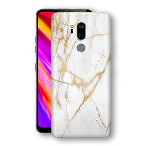 LG G7 ThinQ Print Custom Signature Marble White Gold Skin Wrap Decal by EasySkinz - Design 2