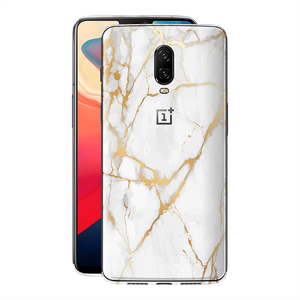 OnePlus 6T Print Custom Signature Marble White Gold Skin Wrap Decal by EasySkinz - Design 2