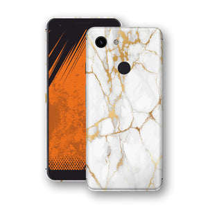 Google Pixel 3a Print Custom Signature Marble White Gold Skin Wrap Decal by EasySkinz - Design 2