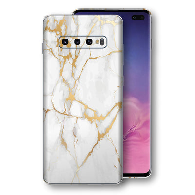 Samsung Galaxy S10+ PLUS Print Custom Signature Marble White Gold Skin Wrap Decal by EasySkinz - Design 2