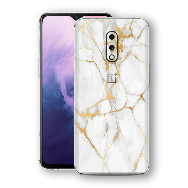OnePlus 7 Print Custom Signature Marble White Gold Skin Wrap Decal by EasySkinz - Design 2
