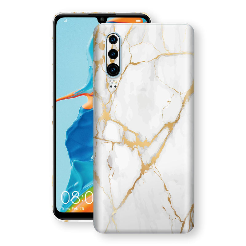 Huawei P30 Print Custom Signature Marble White Gold Skin Wrap Decal by EasySkinz - Design 2