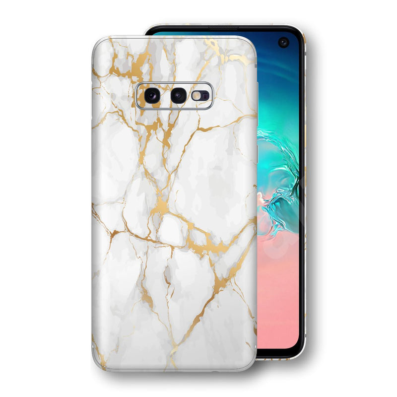 Samsung Galaxy S10e Print Custom Signature Marble White Gold Skin Wrap Decal by EasySkinz - Design 2