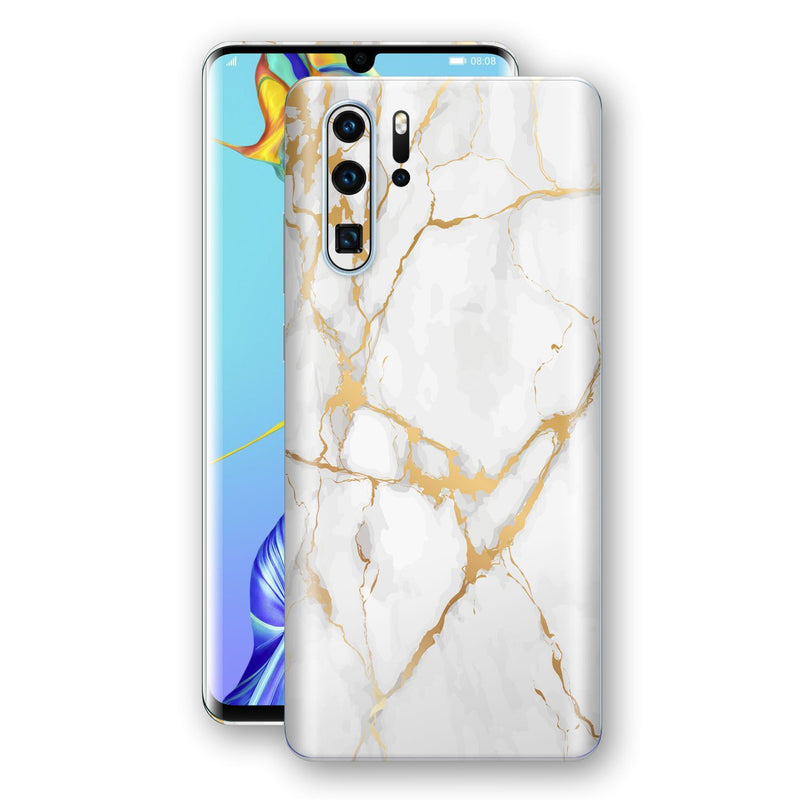 Huawei P30 PRO Print Custom Signature Marble White Gold Skin Wrap Decal by EasySkinz - Design 2