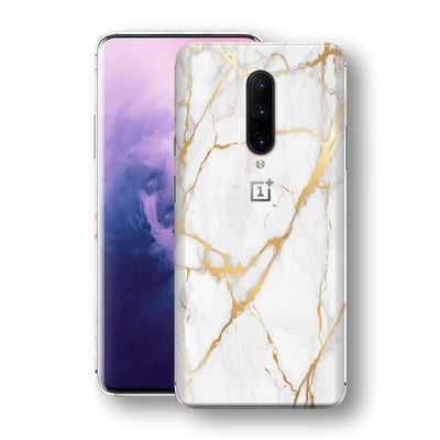 OnePlus 7 PRO Print Custom Signature Marble White Gold Skin Wrap Decal by EasySkinz - Design 2