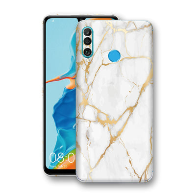 Huawei P30 LITE Print Custom Signature Marble White Gold Skin Wrap Decal by EasySkinz - Design 2