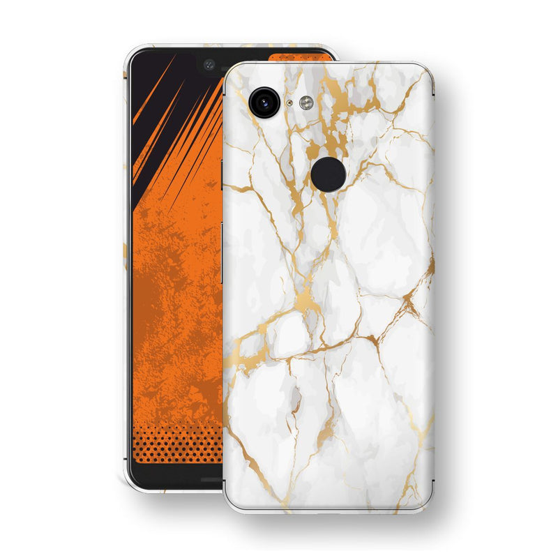Google Pixel 3 XL Print Custom Signature Marble White Gold Skin Wrap Decal by EasySkinz - Design 2