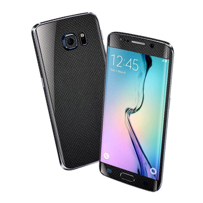 Samsung Galaxy S6 EDGE MICRO 3D CARBON Fibre BLACK Skin Wrap Sticker Cover Decal Protector by EasySkinz