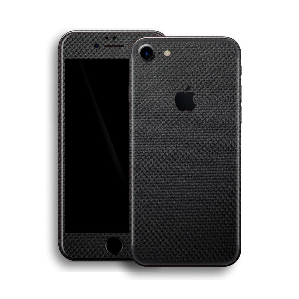 iPhone 7 Micro Black 3D Textured CARBON Fibre Fiber Skin, Wrap, Decal, Protector, Cover by EasySkinz | EasySkinz.com