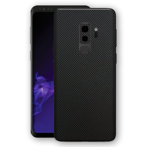 Samsung GALAXY S9+ PLUS 3D Textured MICRO BLACK Carbon Fibre Fiber Skin, Decal, Wrap, Protector, Cover by EasySkinz | EasySkinz.com