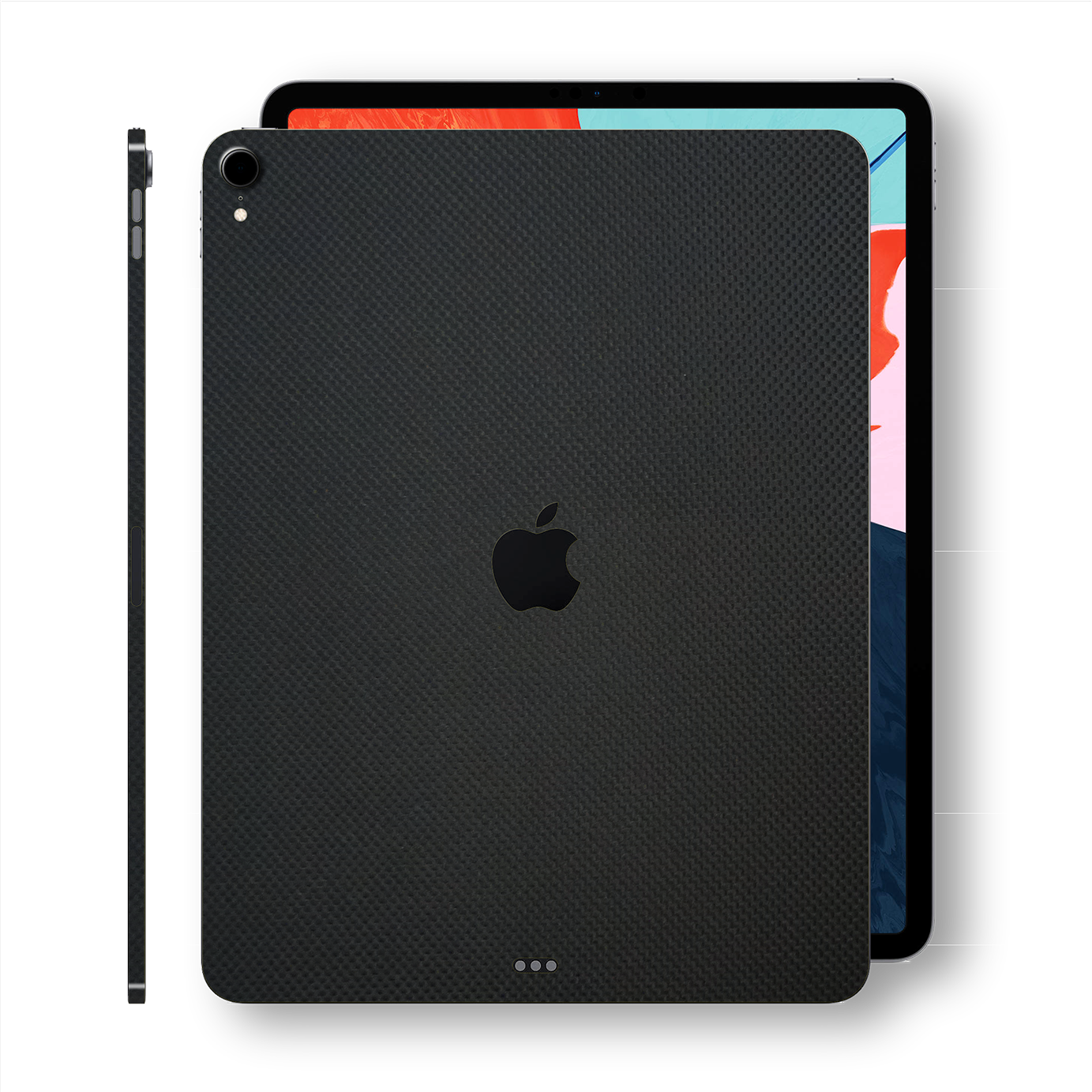 "iPad PRO 12.9"" 3rd Generation 2018 MICRO 3D Textured Black CARBON Fibre Fiber Skin Wrap Sticker Decal Cover Protector by EasySkinz"