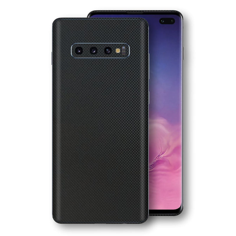 Samsung Galaxy S10+ PLUS 3D Textured MICRO BLACK Carbon Fibre Fiber Skin, Decal, Wrap, Protector, Cover by EasySkinz | EasySkinz.com