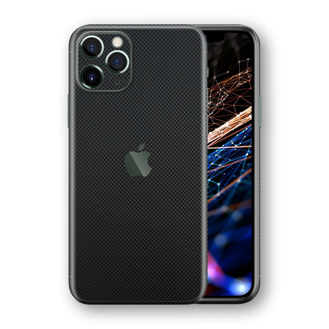iPhone 11 PRO Micro Black 3D Textured CARBON Fibre Fiber Skin, Wrap, Decal, Protector, Cover by EasySkinz | EasySkinz.com