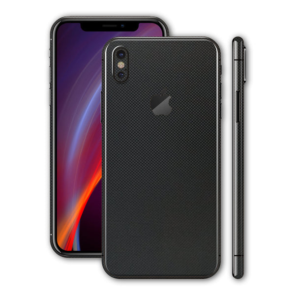 iPhone X Micro Black 3D Textured CARBON Fibre Fiber Skin, Wrap, Decal, Protector, Cover by EasySkinz | EasySkinz.com