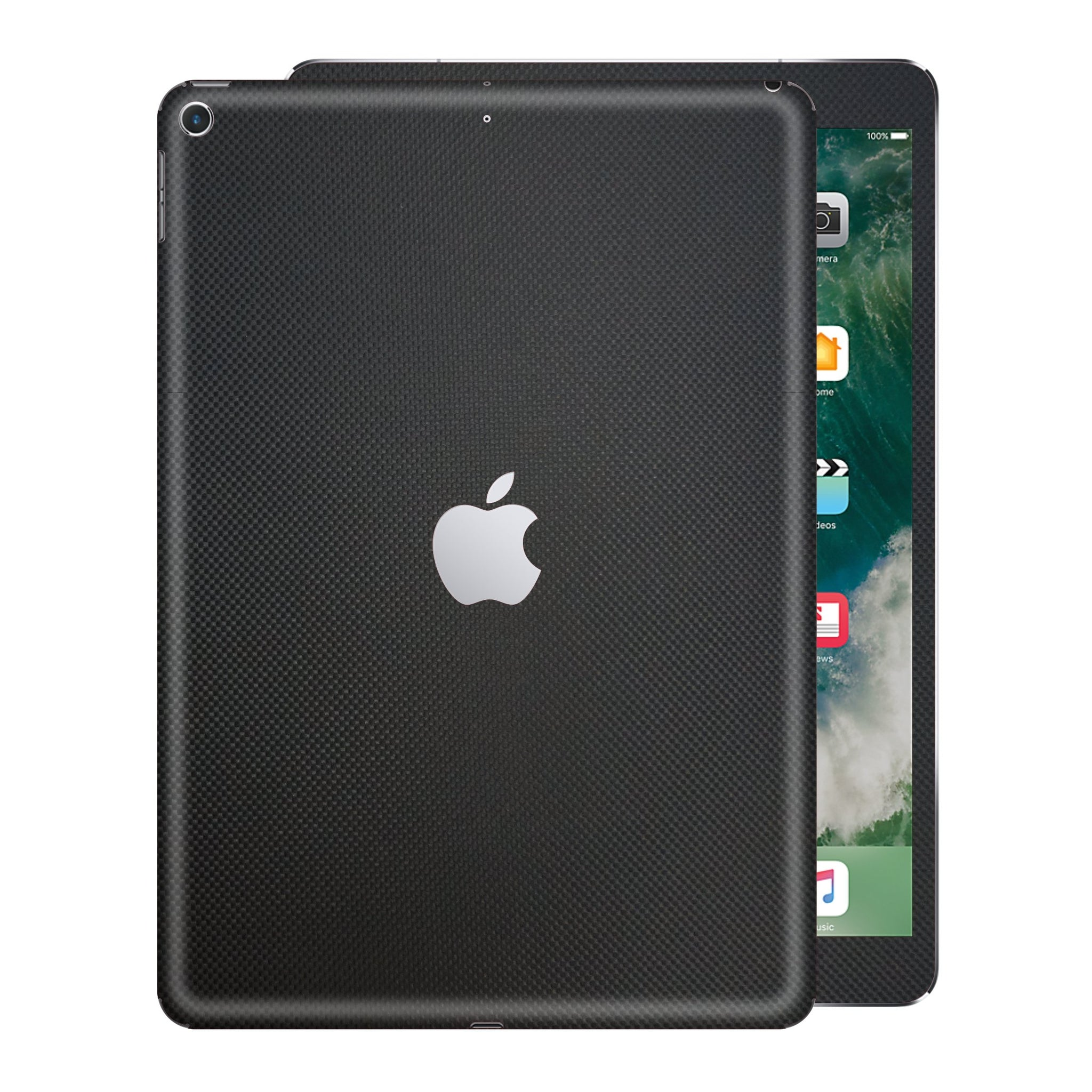 "iPad 9.7"" inch 5th Generation 2017 3D Textured Black MICRO CARBON Fibre Fiber Skin Wrap Sticker Decal Cover Protector by EasySkinz"