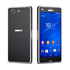 Sony Xperia Z3 COMPACT Micro Black Carbon Fibre Fiber Skin Wrap Sticker Cover Decal Protector. By EasySkinz.