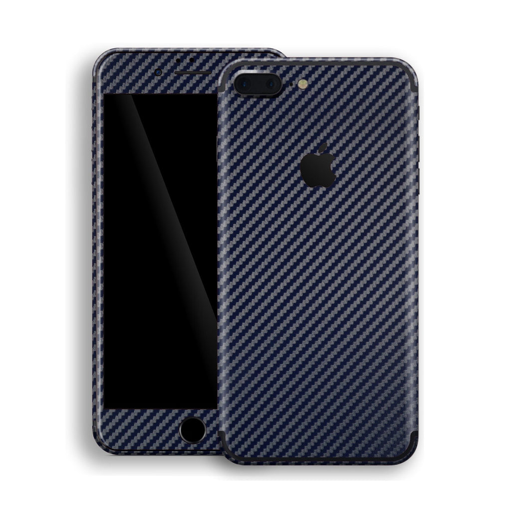 iPhone 7 Plus 3D Textured Blue Carbon Fibre Fiber Skin, Decal, Wrap, Protector, Cover by EasySkinz | EasySkinz.com