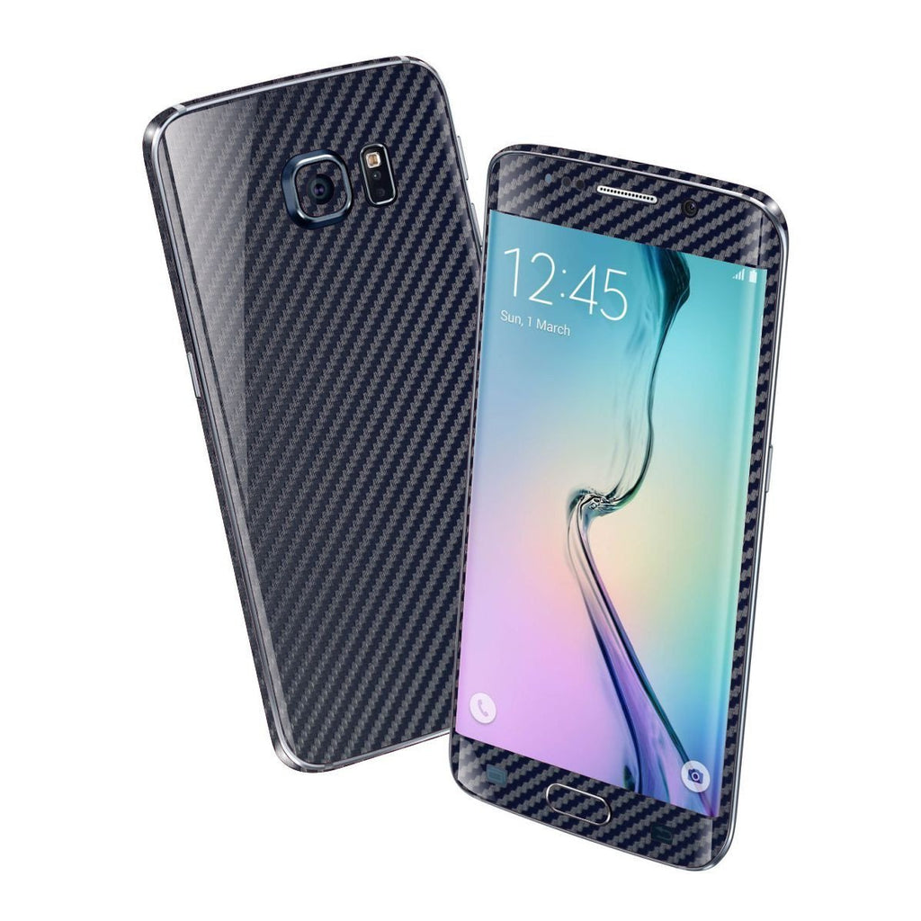 Samsung Galaxy S6 EDGE Navy Blue 3D CARBON Fibre Fiber Skin Wrap Sticker Cover Decal Protector by EasySkinz