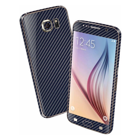 Samsung Galaxy S6 Navy Blue 3D CARBON Fibre Fiber Skin Wrap Sticker Cover Decal Protector by EasySkinz