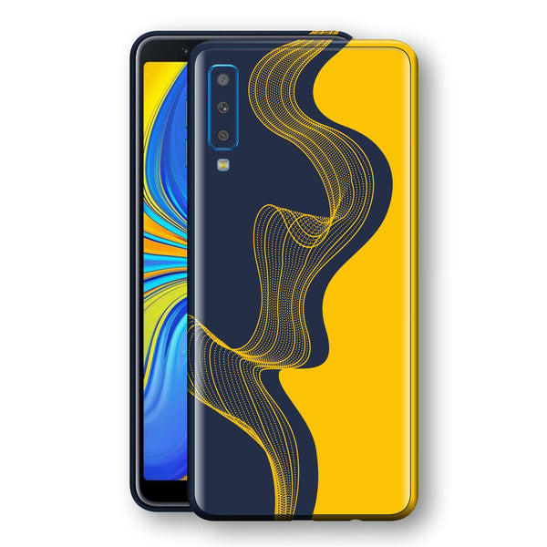 Samsung Galaxy A7 (2018) Print Custom Signature Navy Yellow Abstract Waves Skin Wrap Decal by EasySkinz