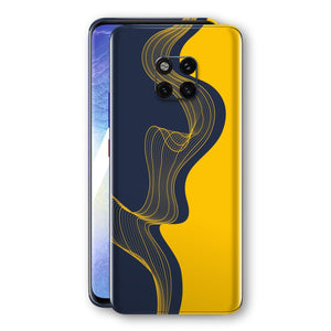 Huawei MATE 20 PRO Print Custom Signature Navy Yellow Abstract Waves Skin Wrap Decal by EasySkinz