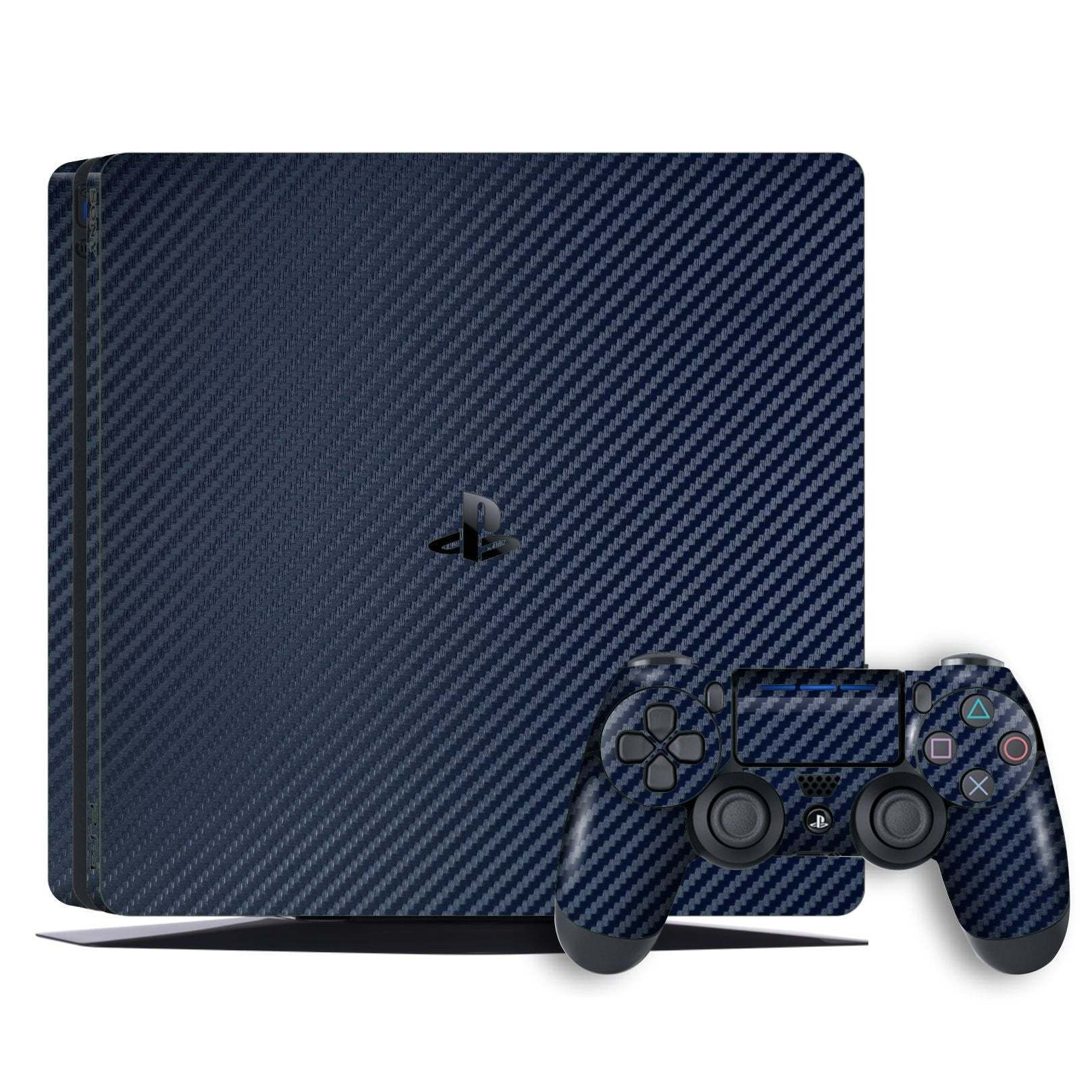 Playstation 4 SLIM PS4 SLIM Navy Blue Carbon Fibre Fiber Skin Wrap Decal by EasySkinz