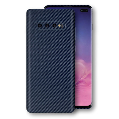 Samsung Galaxy S10+ PLUS 3D Textured Navy Blue Carbon Fibre Fiber Skin, Decal, Wrap, Protector, Cover by EasySkinz | EasySkinz.com