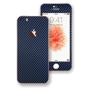 iPhone SE Navy Blue Carbon Fibre Fiber Skin Wrap Decal Sticker Cover Protector by EasySkinz