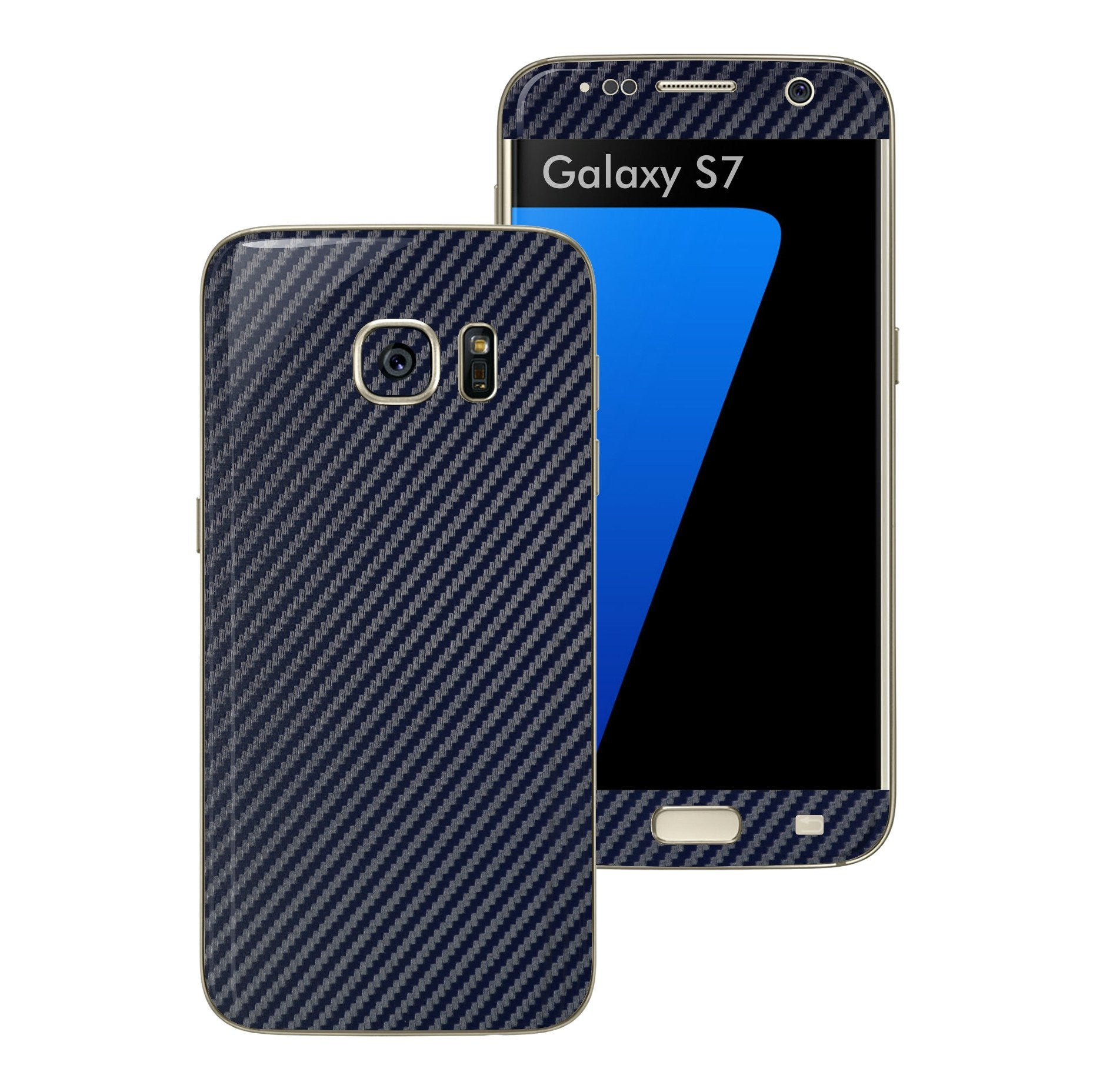Samsung Galaxy S7 NAVY BLUE 3D Carbon Fibre Fiber Skin Wrap Decal Sticker Cover Protector by EasySkinz