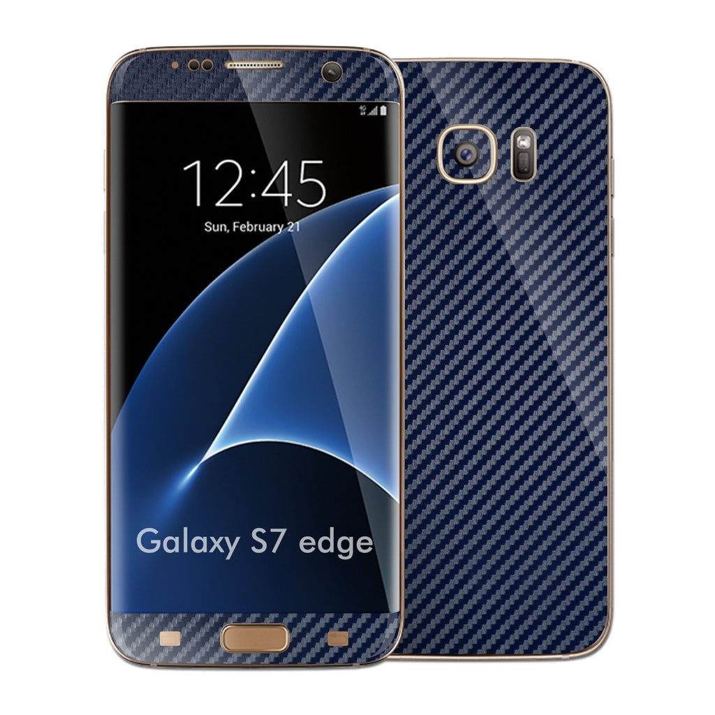 Samsung Galaxy S7 EDGE NAVY BLUE 3D Carbon Fibre Fiber Skin Wrap Decal Sticker Cover Protector by EasySkinz