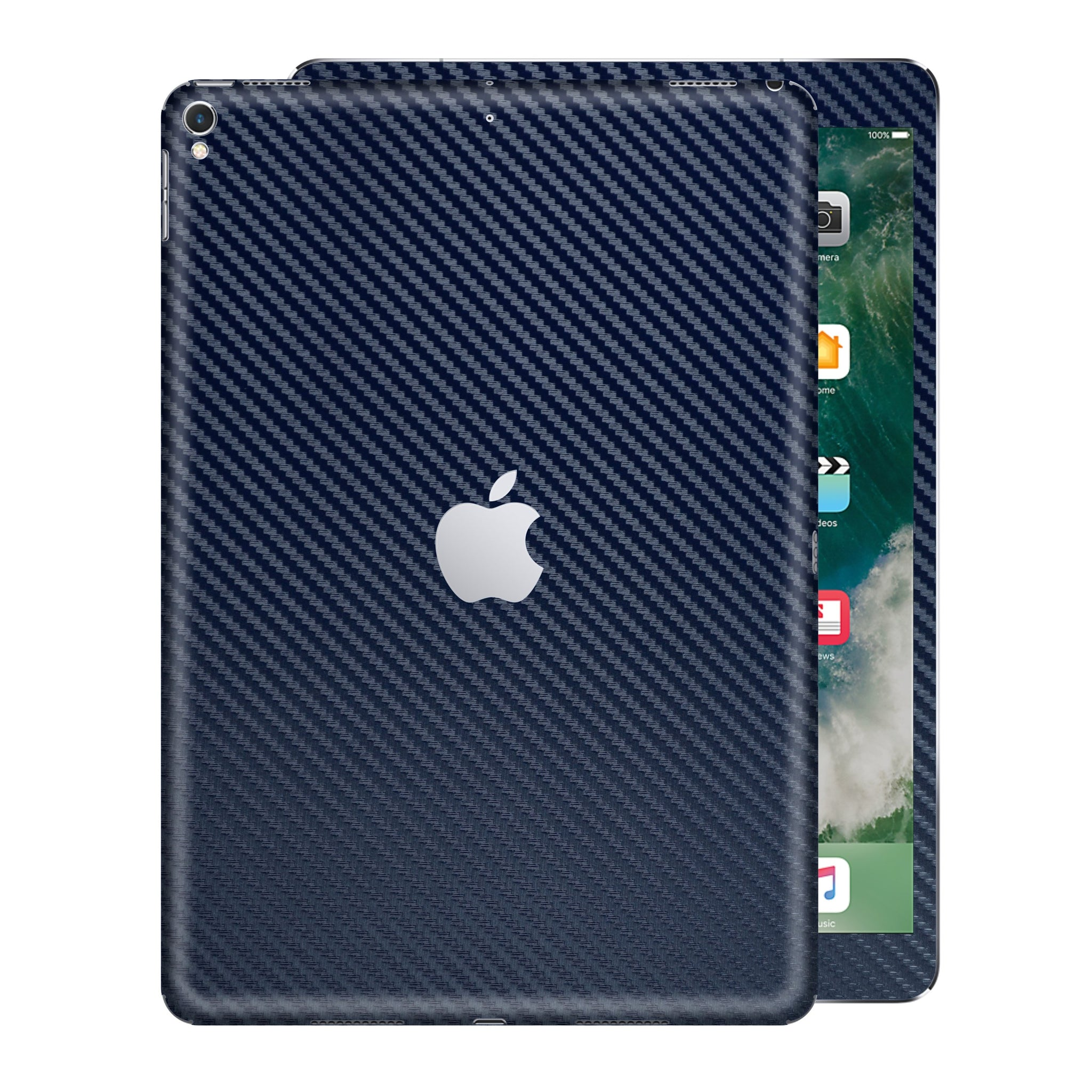 "iPad PRO 12.9"" 2nd Generation 2017 Navy Blue 3D Textured CARBON Fibre Fiber Skin Wrap Sticker Decal Cover Protector by EasySkinz"