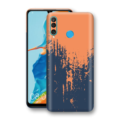Huawei P30 LITE Print Custom Signature Navy Orange Sprayed Paint Skin Wrap Decal by EasySkinz