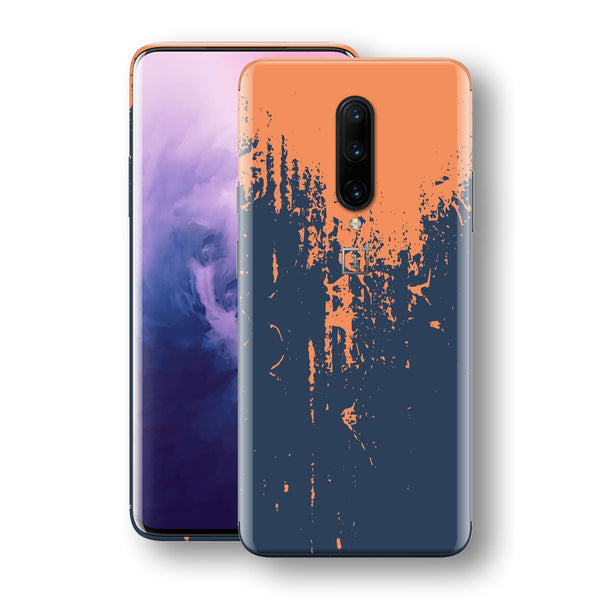 OnePlus 7 PRO Print Custom Signature Navy Orange Sprayed Paint Skin Wrap Decal by EasySkinz