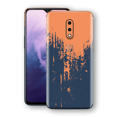 OnePlus 7 Print Custom Signature Navy Orange Sprayed Paint Skin Wrap Decal by EasySkinz