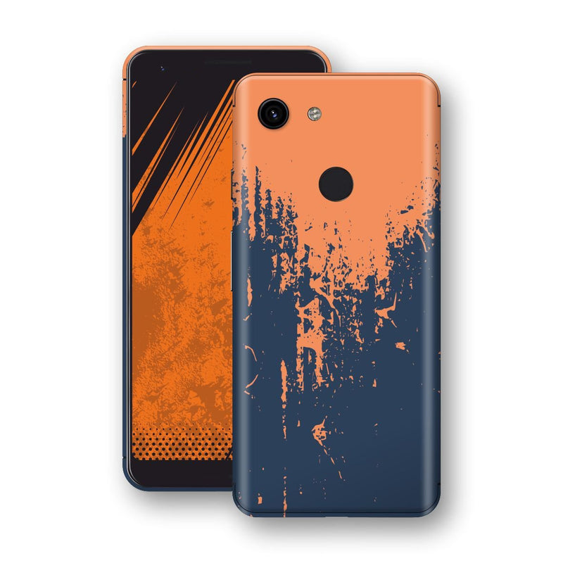 Google Pixel 3a XL Print Custom Signature Navy Orange Sprayed Paint Skin Wrap Decal by EasySkinz
