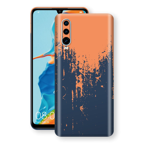 Huawei P30 Print Custom Signature Navy Orange Sprayed Paint Skin Wrap Decal by EasySkinz
